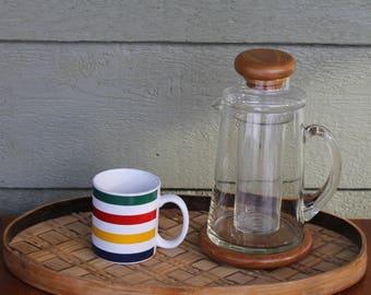 Vintage Hudson Bay Point Blanket Coffee Mug Green Red Yellow Blue White Stripes Retro Striped Mugs Serving Tea Party Mid Century Modern MCM