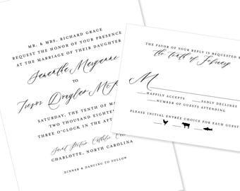 Modern Script | Wedding Invitation | DIY Option Available | Invitation | RSVP | Info Card #1230