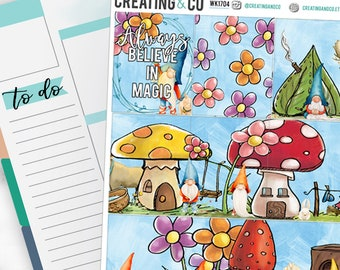 Garden Gnomes Weekly Planner Kit for No-White Space and White Space Planners  - WK17