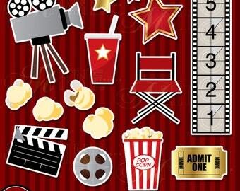MOVIE THEME Clip Art / Movie Theme Sticker Clipart Downloads / Movie Clipart, Movie Party Clip Art, Scrapbook Clipart, Vector Clip Art