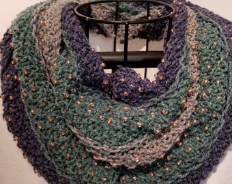 Beaded Tri-Color  Casual Cowl