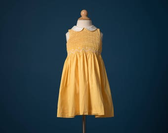 Vintage Sunny Yellow Smocked Chest Dress (Size 3T)