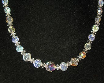 Vintage Graduated Aurora Borealis Crystal Bead Necklace 18 inches