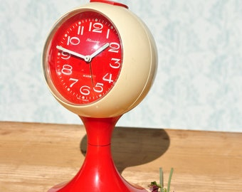 Vintage alarm clock, space age alarm clock, red alarm clock, atomic alarm clock, Blessing alarm clock, West Germany