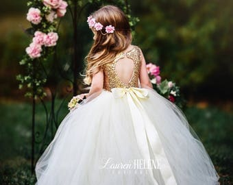 Giselle Ivory Flower Girl Dress, Ivory Gold Sequin Flower Girl Dress, Princess Birthday Dress