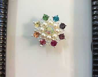 Rainbow Pearl Crystal Jewel Needle Minder