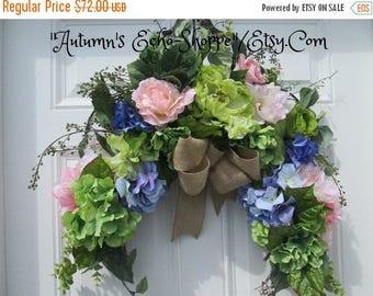 Mother's Day Wreath ~ Spring Wreath ~ Floral Door Arch ~Summer Door Wreath ~ Floral Arch ~ Silk Floral Door Swag ~Interior Floral Decor~Swag