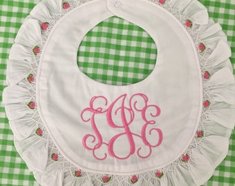 Monogrammed Smocked Bib, Baby Girl Gift, Shower Gift