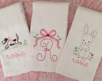 Baby Girl Vintage Personalized Burp Cloth Trio, baby shower gift, monogrammed baby gift