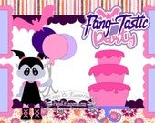 Scrapbook Page Kit Fang-Tastic Birthday Cake Vampire Girl 2 page Scrapbook Layout Kit 145a