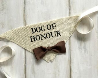 Small READY TO SHIP Canadian French Spelling Dog of Honour with Fabric Bowtie Wedding Collar Girl Engagement Save the Date Photo Prop