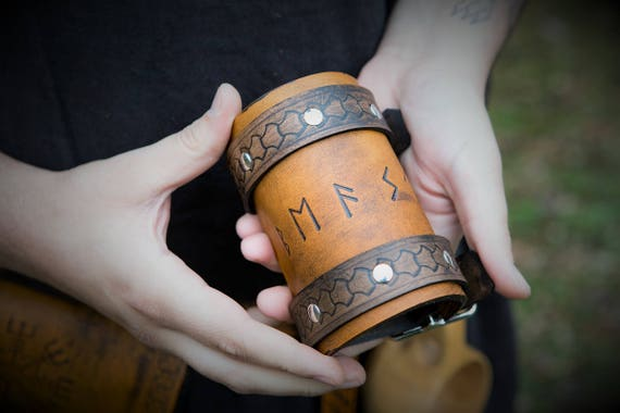 Viking Leather Wrist Cuff - Elder Futhark Rune Cuff - Runic Inscription Magick Cuff / Bracer
