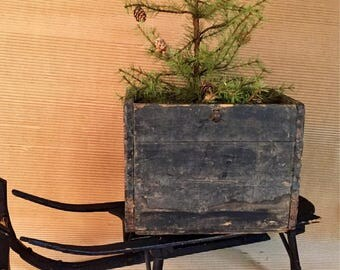 Rustic Wood Box Antique 1911 Mercantile Advertising Webster MA
