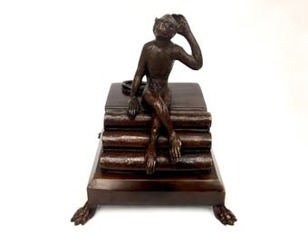 Bronze Maitland-Smith Monkey on Books Figural Sculpture Box  1980's