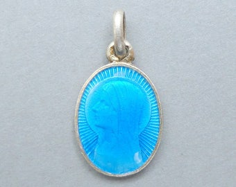 French, Antique Religious Sterling Little Pendant. Saint Virgin Mary. Bernadette Soubirous Lourdes. Silver. Blue Enamel Medal. 170720 2 B