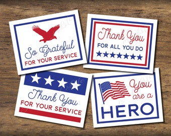 Patriotic thank you cards. Small Acts of Kindness. Instant download. Pdf printable. DIY print. Pay it forward. Random act. Military Service.