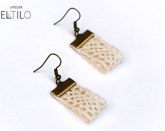 Lace earring / / beige earrings / / original and unique handmade