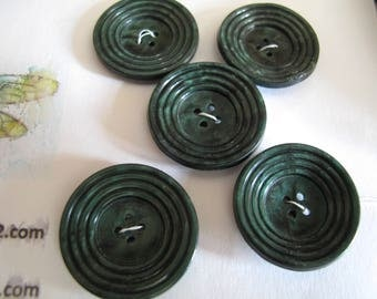 5 green vintage  plastic 1940's buttons with concentric circle detail    28mm diameter 150617/54A