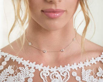 Bridal Crystal Choker, Silver Choker Necklace,Simple Stone Necklace,White Gold Jewelry,CZ Wedding accessories,Layering Jewelry Piece, N063-S