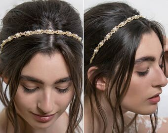 Bridal Headband, Wedding Hairstyles, Gold Bridal Headband, Pearl Headband,  wedding accessories, formal hairstyles H025
