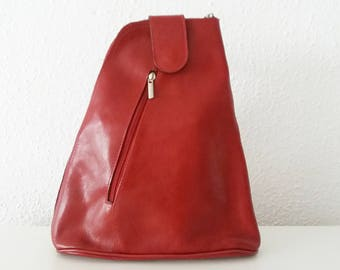 Small Red Leather Backpack.