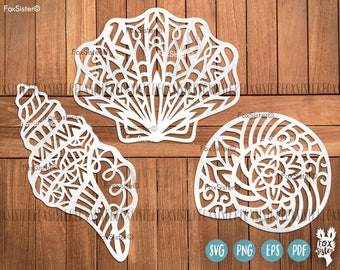 Mandala Shell SVG Bundle! Tribal Shell svg, Seashells svg, Beach svg, Ocean Cut File, Sea svg | Silhouette | Cricut | cut files | Home Decor
