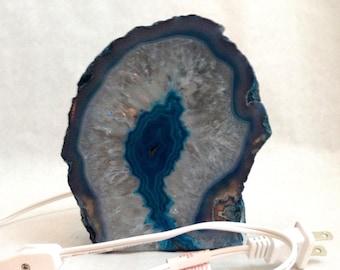 Teal Blue Agate and Clear Crystal Quartz Nightlight