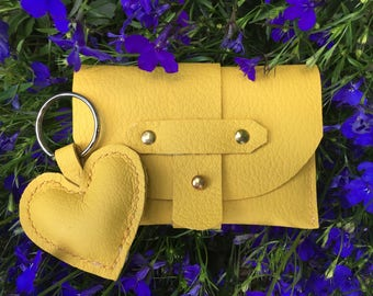 Card Case and Key Ring, Leather, Hand Made