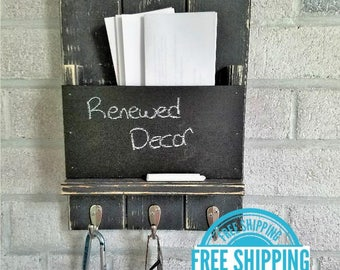 FREE SHIPPING -  Society Hill Mail Slot with Chalkboard and 3 hooks  by Lane of Lenore - Mail and Key Holder -Mail Organizer Wall -Key Hooks