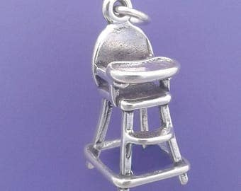 HIGH CHAIR Charm, Baby, Newborn Infant, Child .925 Sterling Silver Pendant - lp1309