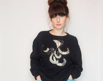 VINTAGE SEQUIN JUMPER - Embellished Jumper - Vegan Wool - Embroidered Jumper - Applique - Silver - Black - Festive - Sequin Jumper - 1980s