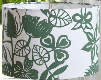 Wildflowers Lampshade in green - Hand Screen Print
