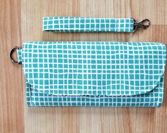 Turquoise Grid Tri-Fold Fabric Wallet, Wristlet, Clutch, Phone Clutch