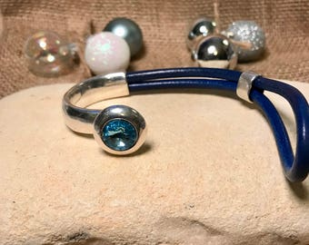 Pale blue Swarovski silver leather bracelet