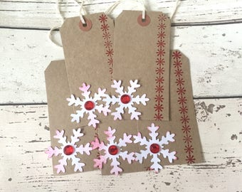 5 x large Vintage Snowflake gem Christmas gift tags for presents shabby chic hand stamped ready with string