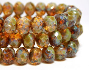 8x6mm Amber Picasso Czech Beads, Rustic Beads, Earthy Beads, Brown Crystal Beads, Glass Beads Rondelle Beads, Faceted Beads, T-62C