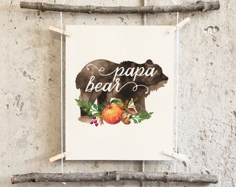 Brown Watercolor Pappa Bear Pumpkin Acorns Rustic Tribal Bohemian Forest Animals Cabin Lake Hand Painted Floral Feather New Father Gift