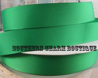 "3 yards 7/8"" green solid grosgrain ribbon"