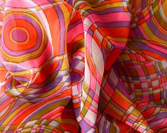 1960er Jahre hell Poly Chiffon Stoff heißen rosa Orange lila - 75-L15
