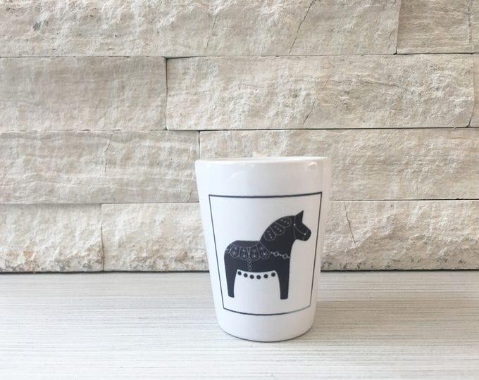 Black and White Dala Horse Shot Glass