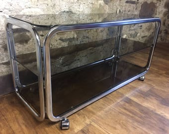 Vintage chrome and glass coffee table tv stand