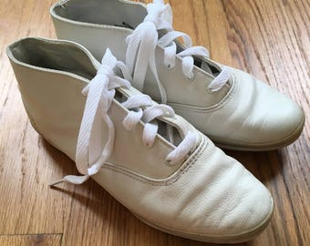 Size 6.5 Vintage Keds White Leather Hi Tops