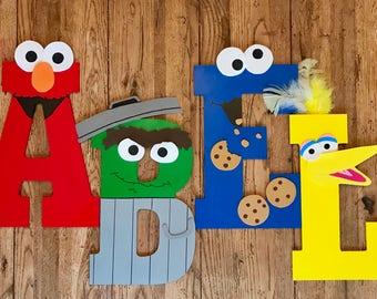 Sesame Street Wooden Letters - Big Bird, Elmo, Oscar the Grouch, Cookie Monster, Kermit