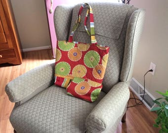 Large Red Print tote