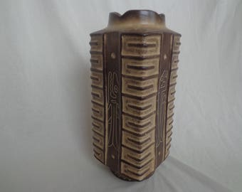 "10.5"" Pottery Vase, Stylized Fish, Signed, Central or South American Style"