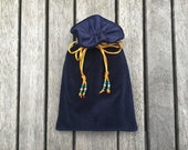 Navy Blue Cotton Velvet Tarot / Oracle Bag Lined with Navy Blue Dupion Silk