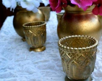 Decorative Glass Votives Candles Candle Holder Wedding Decor Custom Design Floral Arrangement Gold Mercury Glass Decor Centerpieces Glass