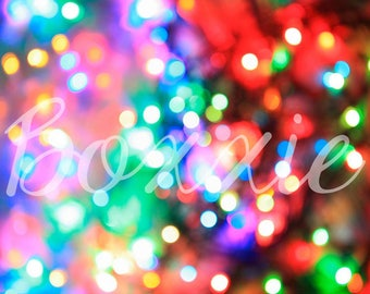 Christmas lights bokeh wrapping paper sheets gift wrap sheet colorful winter holiday GW1377