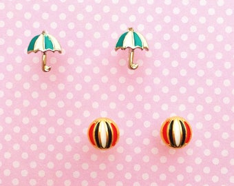 "Fun In The Sun Collection ""Beach Day"" Dainty Minimalist Beach Ball and Beach Umbrella Earring Set - Summer Earrings Minimalist Jewelry"
