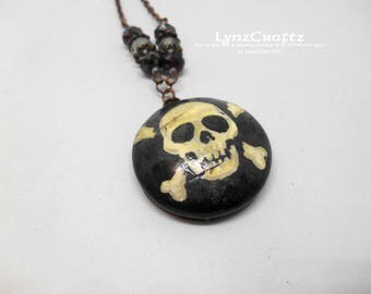 The Jolly Roger black & white polymer clay pendant necklace jewelry charm handmade